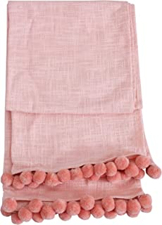 ACCENTHOME Christmas Decorative Cotton Slub Thick and Soft Throw 50x60 inch / 127x 150 cm for Living Room, Sofa, Couch, Outdoor Picnic beautiflluly Embellished with Same Color Pom Pom in Blush Colour