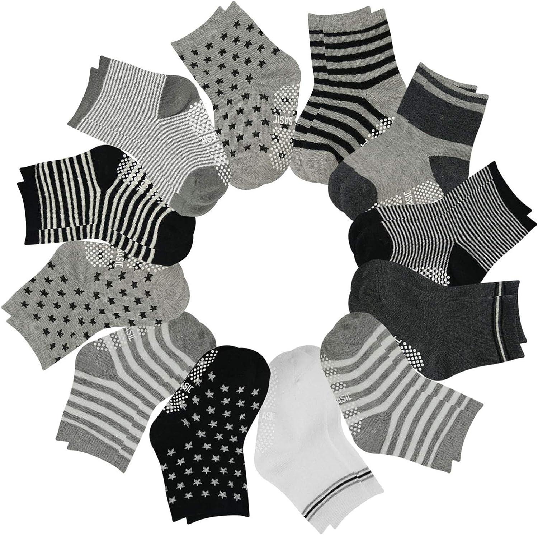 HIP MALL Baby Boy Socks, Non Slip Cotton Infant Newborn Socks, Assorted Anti Skid Crew Toddler Socks with Grips 12 Pairs