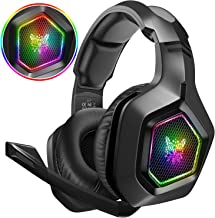 DIZA100 Gaming headset for PS4, PS5, Surround Stereo 3.5mm Gaming Headphones with Mic and RGB Rainbow Light for PS4 Xbox O...