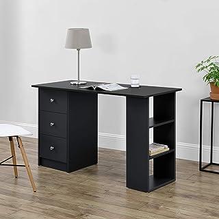 [en.casa] Mesa Escritorio Escritorio de Ordenador 120 x 49 x 72 cm 3 Compartimientos y 3 Cajones Mesa de Oficina Negro