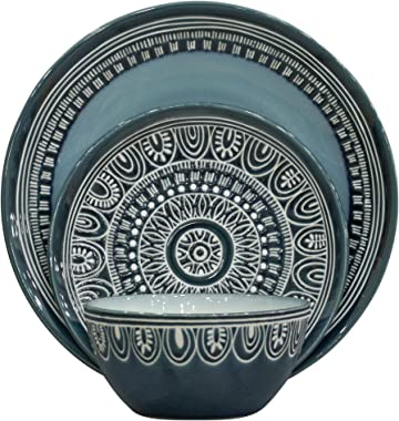 Better Homes and Gardens Teal Medallion 12-Piece Dinnerware Set, Teal