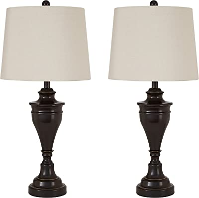 Ben Farmhouse Traditional Table Lamps Set Of 2 Dark Bronze Brown Metal Beige Linen Drum Shade Decor For Living Room Bedroom House Bedside Nightstand Home Office Entryway Family Regency Hill Amazon Com