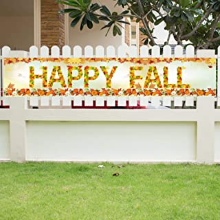 Happy Fall Banner Large Happy Fall Decorations Welcome Autumn Banner Fall Maple Leaves Pumpkin Banner Autumn Fall Banner for Autumn Thanksgiving Day Outdoor Indoor Decor