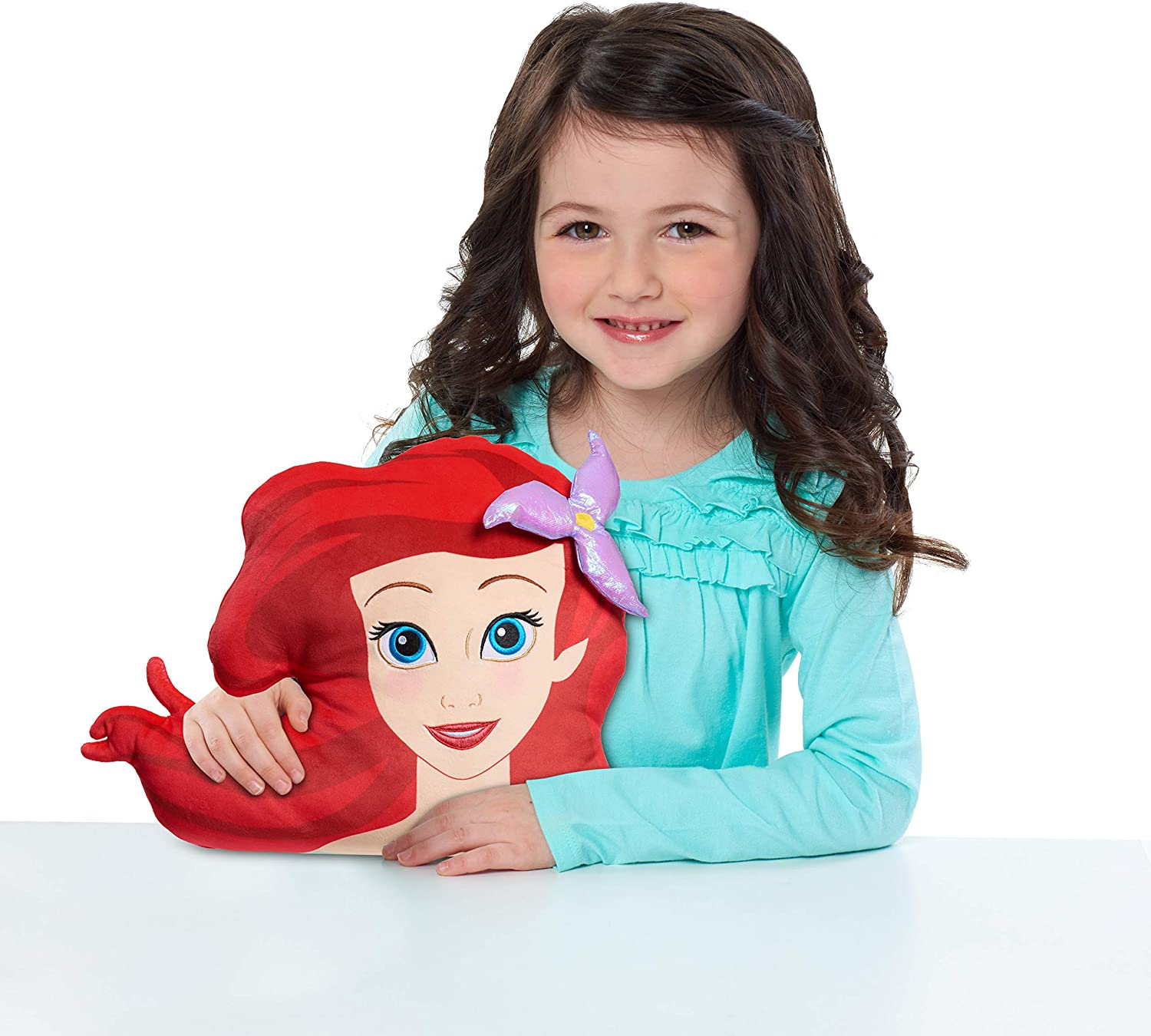 Disney Princess Character Head 12.5-Inch Plush Ariel The Little Mermaid Soft Pillow Buddy Toy for Kids