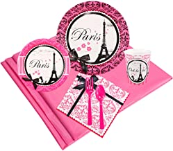 BirthdayExpress Paris Eiffel Tower Damask Party Supplies - Party Pack for 32