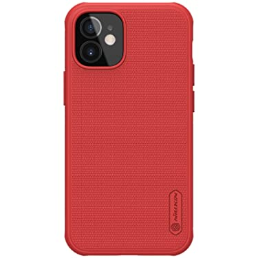 """Nillkin Case for Apple iPhone 12 Mini (5.4"""" Inch) Super Frosted Shield Pro Hard Back Soft Border (PC + TPU) Shock Absorb Cover with Raised Bezel for Camera Protect PC Without Logo Cut Red Color"""
