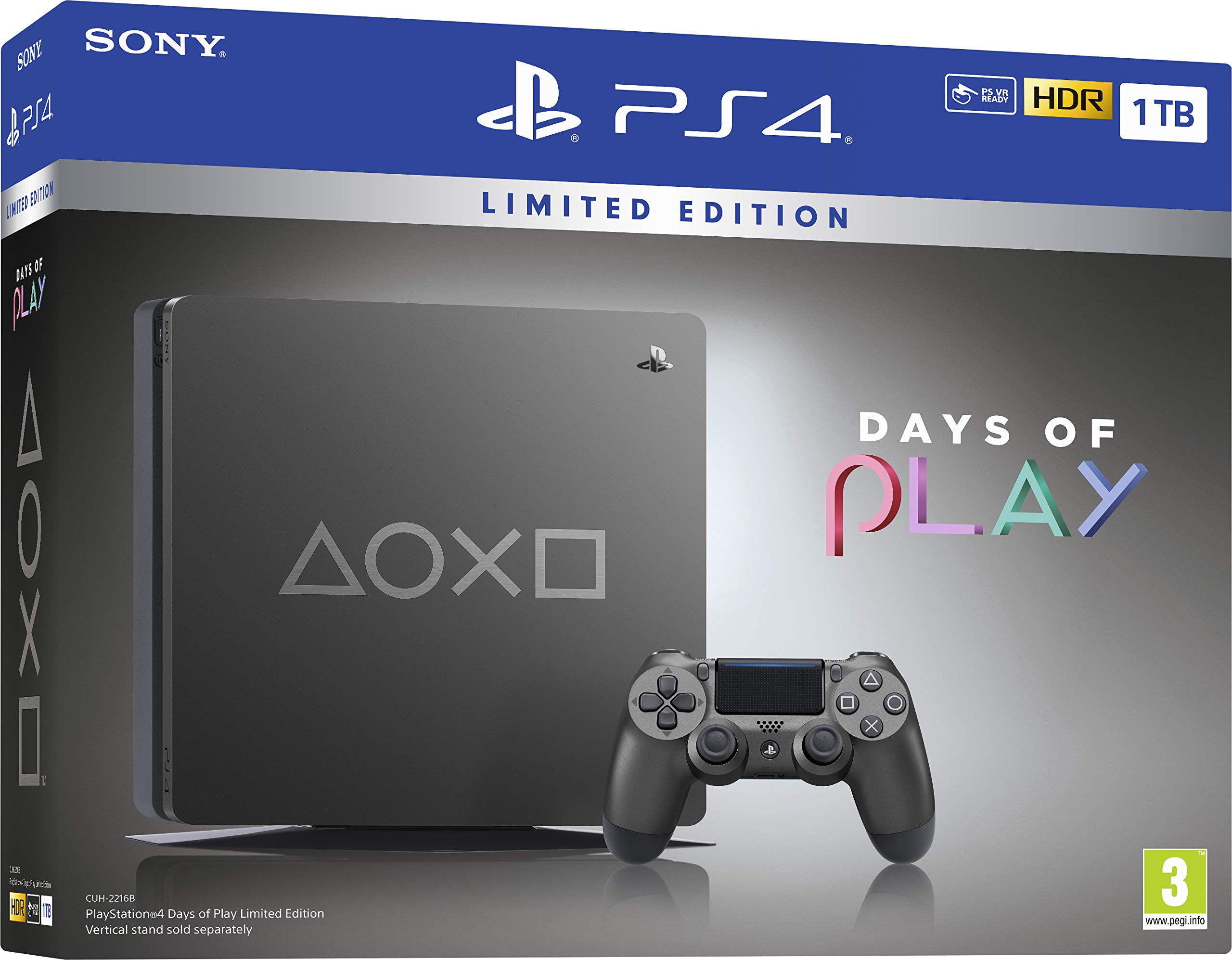 Days of Play Limited Edition Steel Black 1TB PS4 - PlayStation 4 ...