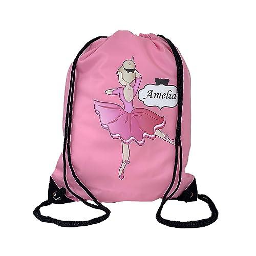PINK Ballerina Drawstring Bag, Personalised School P E Bag Gym 177e0d40d5