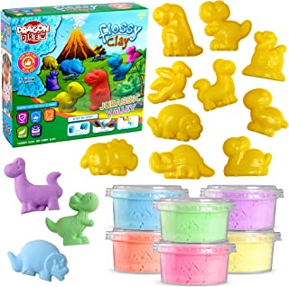 Dragon Drew Kinetic Modeling Clay Sand - 17 Piece Flossy Play Dough Set – 10 Jurassic Dinosaur Plastic Molds - 6 Colors - Reusable, Moldable, Stretchy, Non Sticky, Non Drying, Silky Smooth