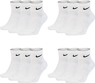 NIKE, 12 pares de calcetines cortos Nike para hombre y mujer, de color blanco y negro, sx7667, calcetines deportivos, talla 34, 36, 38, 40, 42, 44, 46, 48, 50, tamaño: 42-46, 12 pares, color blanco