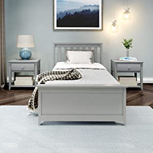 Plank+Beam Traditional Bed, Twin, Grey