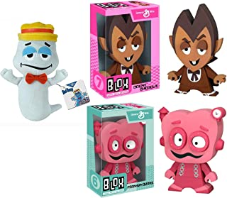 Boo Monster Morning Crunch! Vinyl Count Chocula Figure Bundled with Boo Berry Ghost Plush + Frankenberry Blox Character Breakfast Retro Fun Pack 3 Items