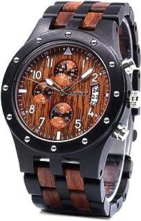 Bewell 木製腕時計 メンズ ウッドウォッチ ビジネス 軽量 アナログ 腕時計 生活防水 日本製クォーツ 木の時計 金属アレルギーなし (黒檀と赤檀)