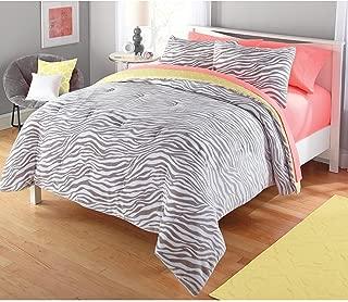 Luxlen Zebra Pattern Comforter Set, Reversible, Twin, Yellow