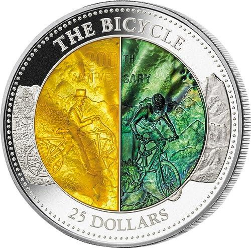 descuentos y mas Bicycle 200 200 200 Anniversary Mother of Pearl 5 Oz Moneda plata 25  Cook Islands 2017  orden en línea