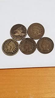 1858 FLYING EAGLE & 1859 1863 1865 1909 INDIAN HEAD CENTS -5 AFFORDABLE BETTER DATE PENNIES-VERN'S CARD & COIN AG-G