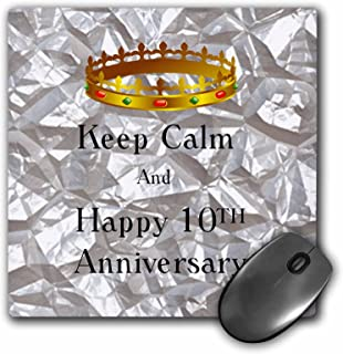 3dRose Keep Calm And Happy 10th Anniversary On Tin Photo - Mouse Pad, 8 by 8 inches (mp_162842_1)