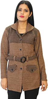 Matelco Women's Woollen Coat Style Cardigan with Belt (Ad04Caz35Br_Brown)