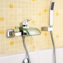 JinYuZe Wall Mounted Bath Tub Filler Faucet,Glass Waterfall Spout with Hand Shower Parts,Chrome