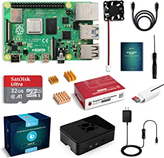 LABISTS Raspberry Pi 4 Complete Starter Kit with Pi 4 Model B 2GB RAM Board, 32GB Micro SD Card Preloaded Noobs, 5V 3A Power Supply, Case, HDMI Cable, SD Card Reader (USB A&USB C), Fan, Heatsinks