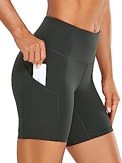 """CRZ YOGA Shorts de corrida femininos nus com sensação de leveza 6""""- Shorts de compressão para ciclistas de ginástica de ci..."""