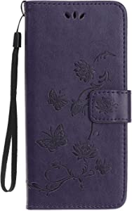 Reevermap Samsung Galaxy A10S Case Flip Cover Leather Wallet Lotus Butterfly Embossed Magnet Closure Card Slot Holder Stand Silicone Bumper Shockproof Case for Samsung Galaxy A10S Purple