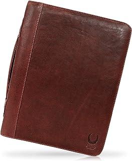Corno d'Oro Portadocumentos de piel para hombre y mujer CD3301, carpeta de conferencias con RFID, portafolios vintage marrón
