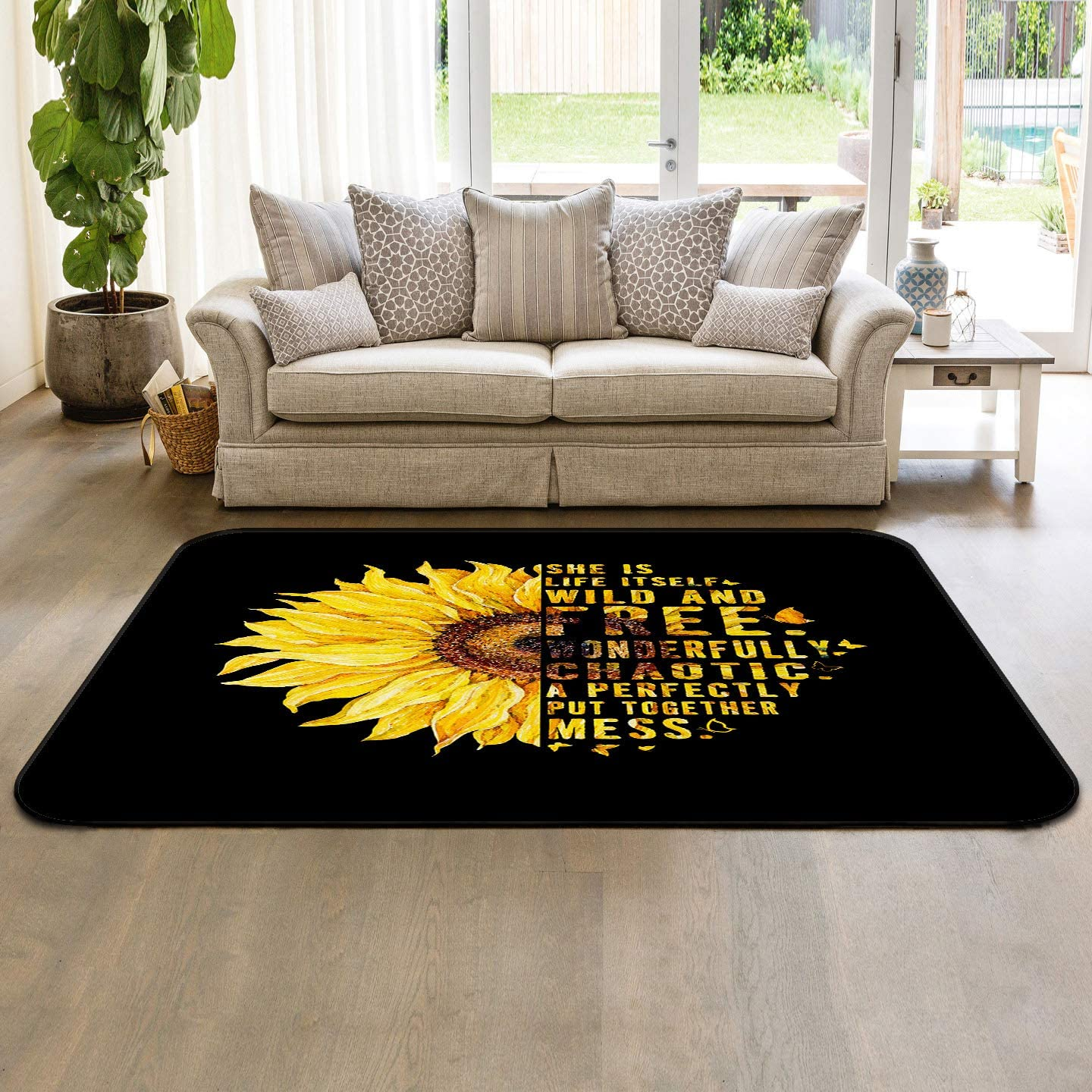 Soft Award Area Rugs for Bedroom Sunflower W Word Text Butterfly Black Colorado Springs Mall