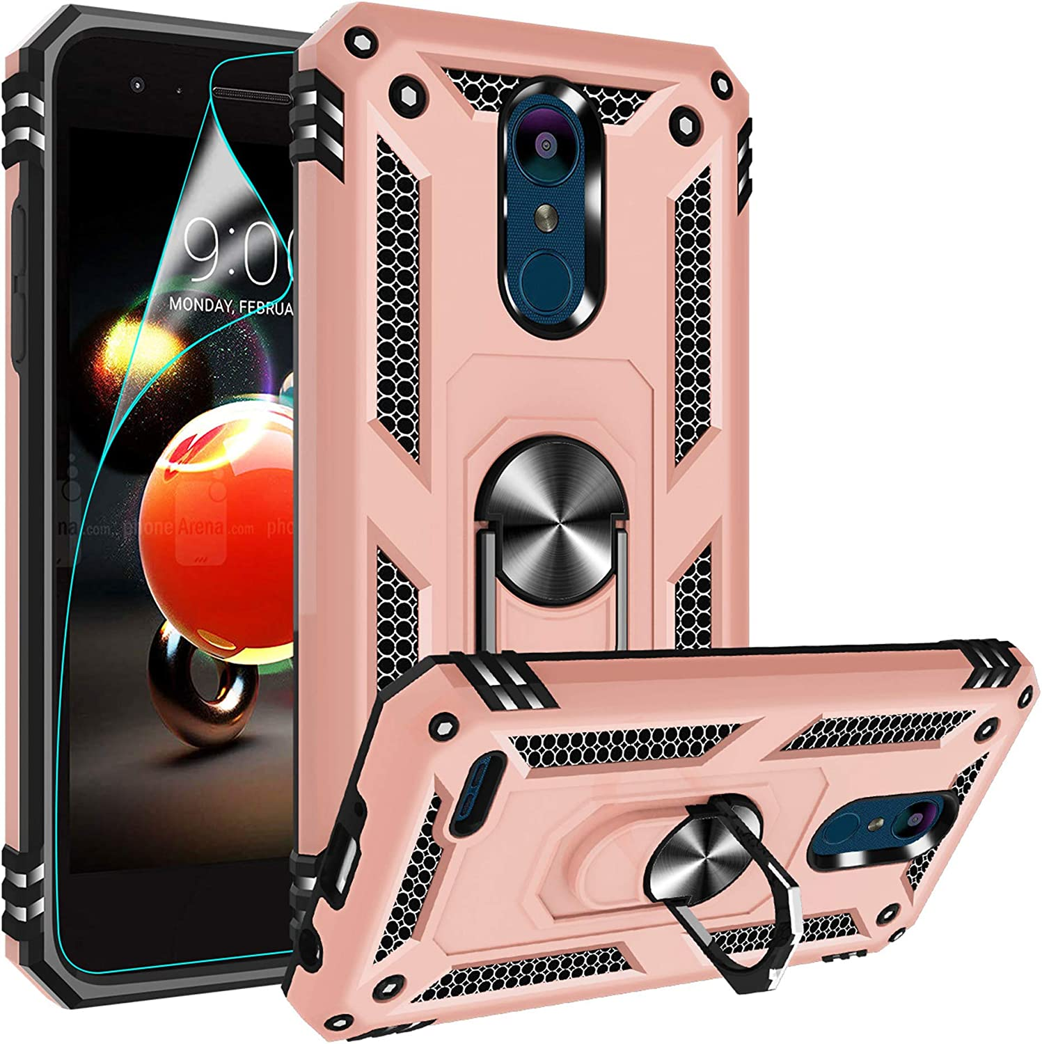Compatible for LG Tribute Empire Case, LG Aristo 3/Aristo 2/Rebel 4 LTE/Aristo 2 Plus/Phoenix 4/Tribute Dynasty/Zone 4 Case, Gritup Metal Ring Kicktand Cover Phone Case for LG K8 2018 Rose Gold