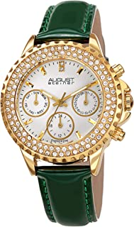 August Steiner Womens Quartz Watch, Analog Display and Leather Strap AS8267GN