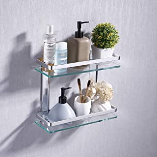 KES Aluminum Bathroom Glass Shelf 2 Tier Tempered Glass Rectangular Double Deck Extra Thick Silver Sand Sprayed Wall Mounted, A4126B