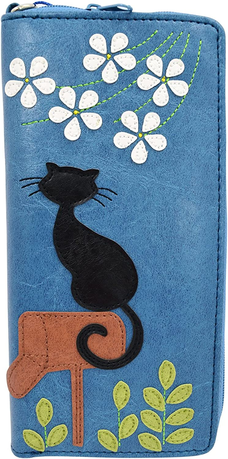 Lavishy Playful Cat on Mailbox and Flower applique Bifold Large Wallet W Strap