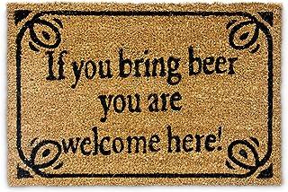 """Relaxdays – Felpudo """"If You Bring Beer You Are Welcome Here"""" para la Entrada de su hogar Hecho de Fibras de Coco y PVC con..."""