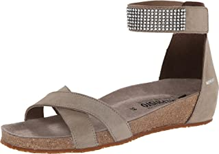 Mephisto Women's Ivory Fashion Sandals, Grey, Leather, Suede, Cork, Latex, 10 M