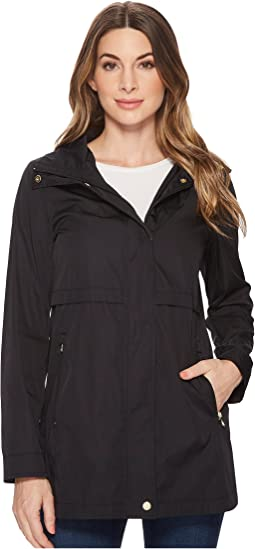 Cole Haan Zip Front Double Face Packable Rain Jacket with Detachable Hood and Curved Hem Detail