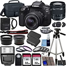 $1199 » Canon EOS 90D DSLR Camera with EF-S 18-55mm f/3.5-5.6 is STM Lens & Preferred Accessory Bundle – Includes: 2X 32GB SDHC Memory Card, Extended Life Battery, Case, Filters & More