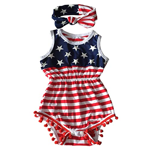d4a4ed78252d Orianna 4th of July Toddler Baby Girl American Flag Tassel Romper with  Headband Red