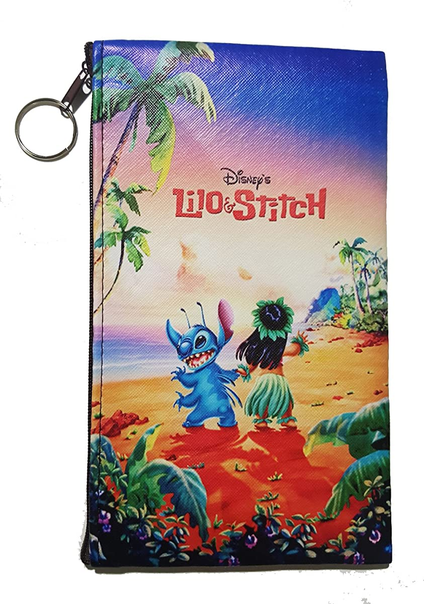 Disney Little Mermaid, Snow White, Alice in Wonderland, Lilo & Stitch, Beauty and the Beast, Peter Pan, Frozen, Mickey & Minnie, Villains Zipper Pouch (8inch x 4inch) (Lilo & Stitch)