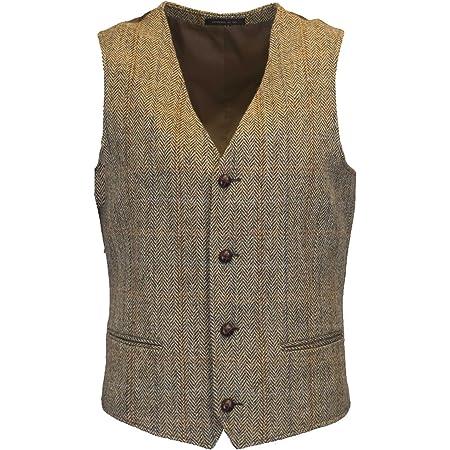 Walker & Hawkes - Mens Classic Scottish Harris Tweed Herringbone Overcheck Country Waistcoat - White Sand - 46
