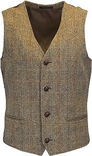 Walker & Hawkes - Mens Classic Scottish Harris Tweed Herringbone Overcheck Country Waistcoat - White Sand - 40