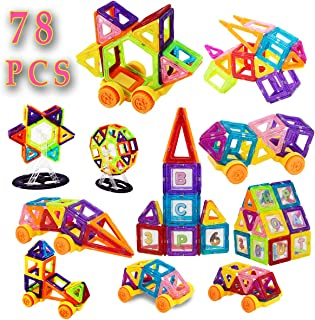 SAKAcare Kids Magnetic Blocks - Creative – Educational Construction Building Blocks kit Magnet Toy for Toddlers – Children – Boys – Girls. Best Birthday for 3+ Year with 78 PCS Set