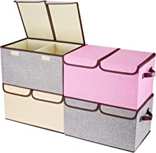 Larger Storage Cubes [4-Pack] Senbowe Linen Fabric Foldable Collapsible Storage Cube Bin Organizer Basket with Lid, Handle...