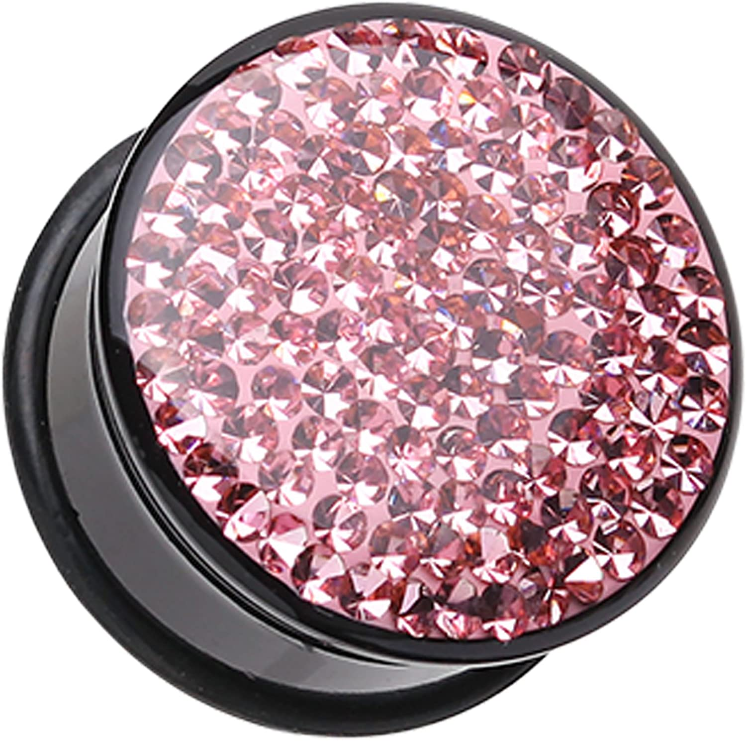 Brilliant Sparkles Black Body Single Flared Ear Plug - Pink - Sold as a Pair