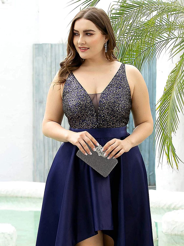 Ever-Pretty Women's V-Neck A-line High-Low Party Dress Plus Size Evening Dress 0667-PZ