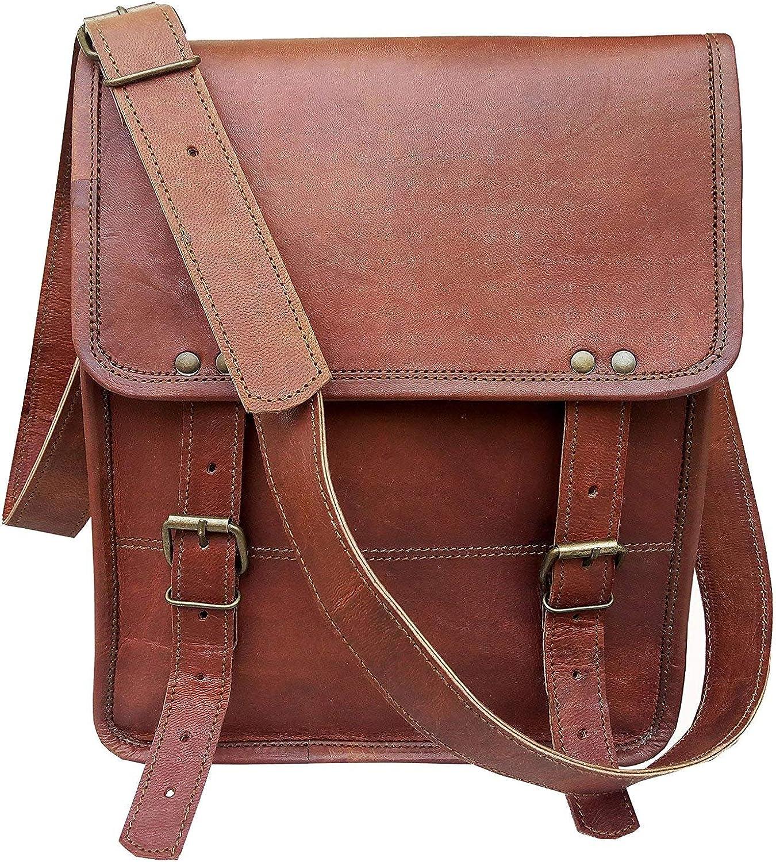 11  Genuine Leather Messenger Bag for Men Women iPad Crossbody Satchel Bag