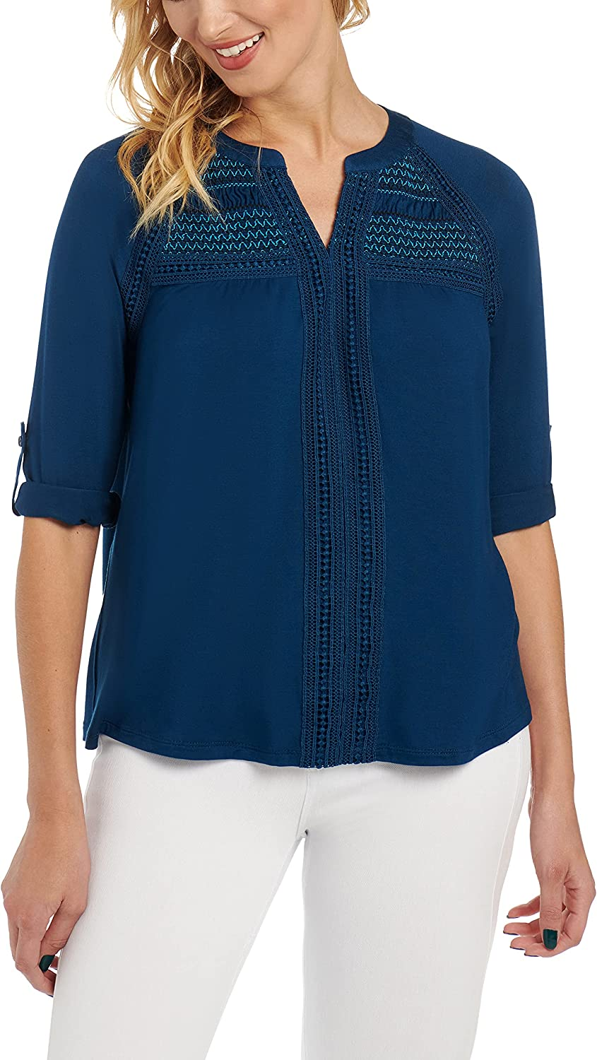 Cable & Gauge Plus Size Roll Tab Sleeve Henley, Crochet Trim, Smocking Detail