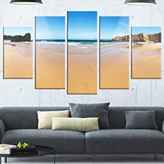 Design Art Calm Sandy Coastline Panorama - Oversized Beach Glossy Metal Wall Art, 32'' Hx60'' Wx1'' D 5PD, Blue