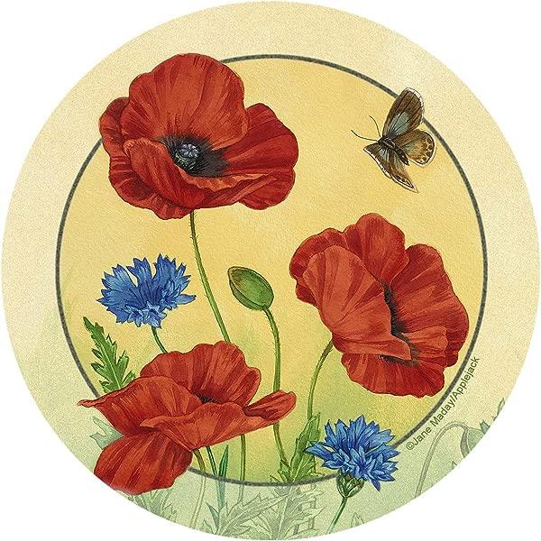 Thirstystone Stoneware 杯垫套装罂粟花和矢车菊