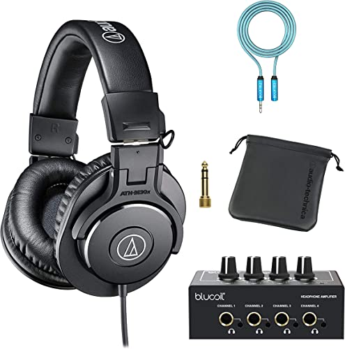 wholesale Audio-Technica ATH-M30x Professional Studio Monitor Headphones for Studio Tracking and Mixing (Black) Bundle with outlet sale Blucoil 4-Channel Headphone Amplifier, and 6-FT Headphone wholesale Extension Cable (3.5mm) outlet online sale