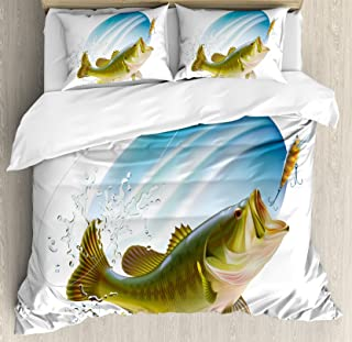 Ambesonne Fishing Duvet Cover Set, Largemouth Sea Bass Catching a Bite in Water Spray Motion Splashing Wild Image, Decorative 3 Piece Bedding Set with 2 Pillow Shams, Queen Size, Green Blue